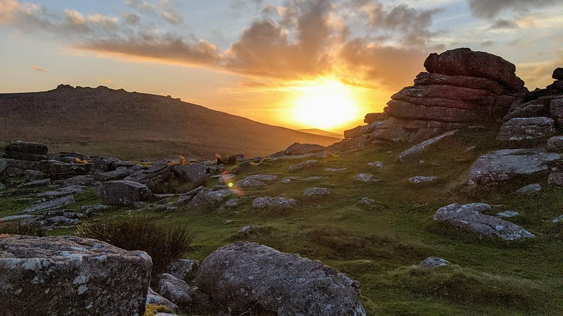 Rowtor sunset looking to West Mill Tor