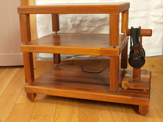 Custom build Hi fi three tier decoupled rack in solid Iroko.