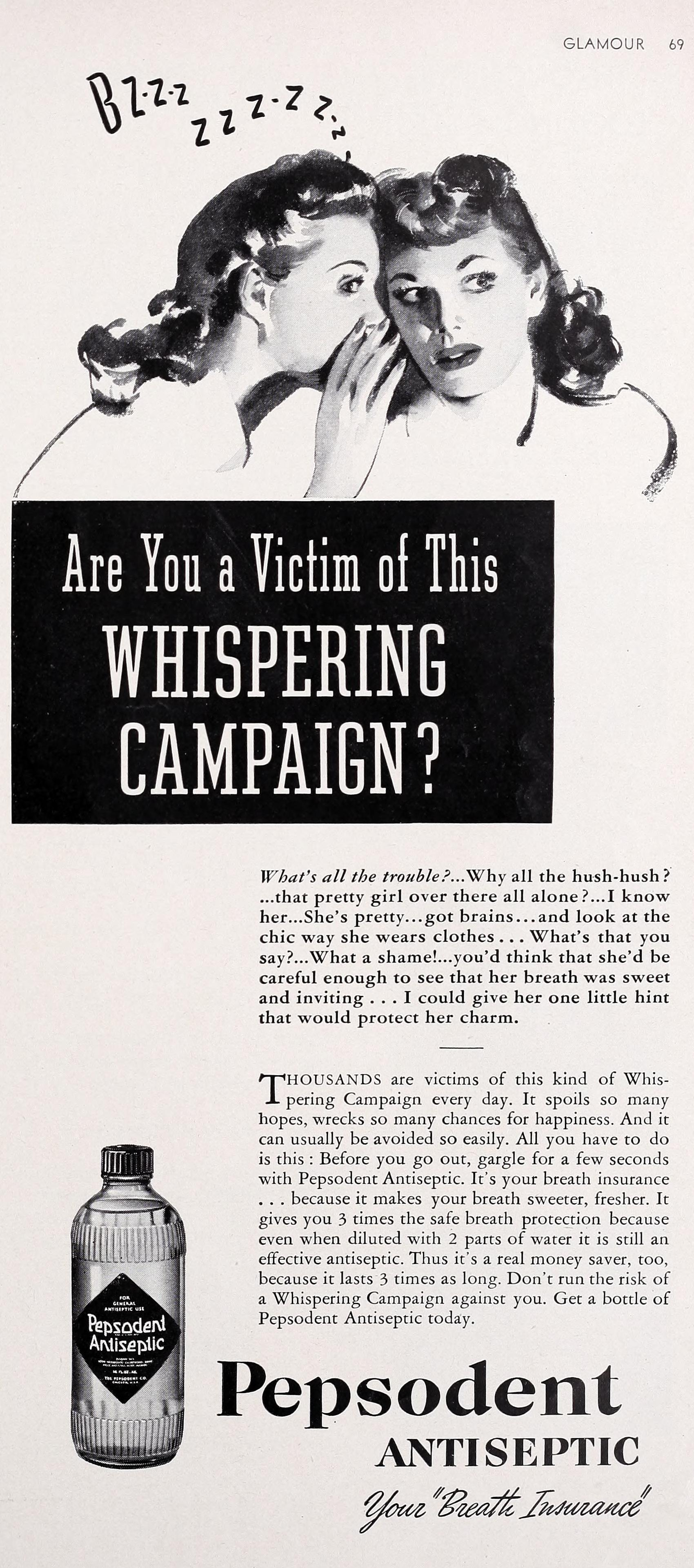 Pepsodent Antiseptic - published in Glamour of Hollywood - March 1941
