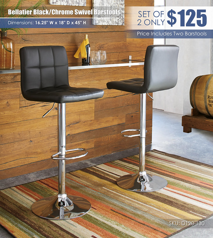 Bellatier Black Chrome Swivel Barstools D120-130-FRONT-BACK