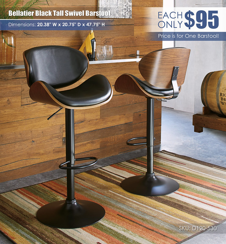 Bellatier Black Tall Swivel Barstool_D120-530-FRONT-BACK