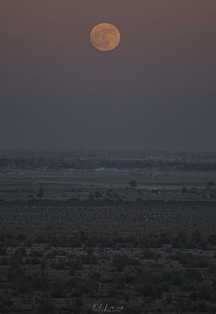 Above Mexicali Full Moon Sunset,Baja California,Mexico.