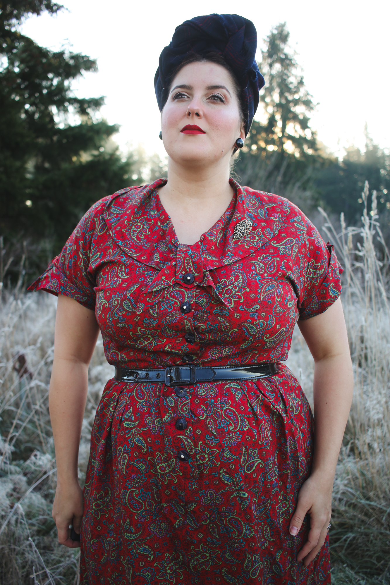 Vintage 1950s Lane Bryant red paisley dress