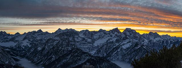 Late dusk panorama at Karwendel