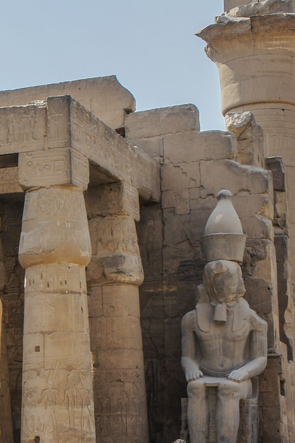 King Ramses II colossal statue at the first courtyard of Luxor Temple