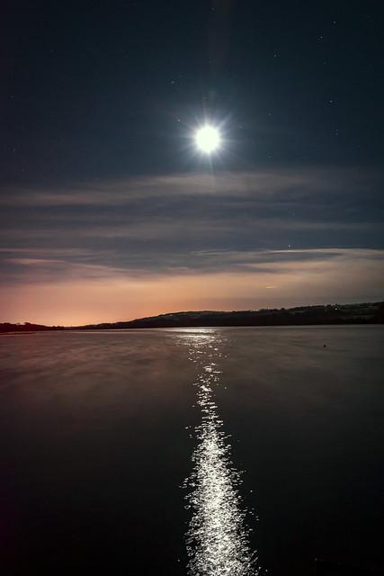 Moon over Lake, Castle Semple Loch, Lochwinnoch, Renfrewshire, Scotland, UK