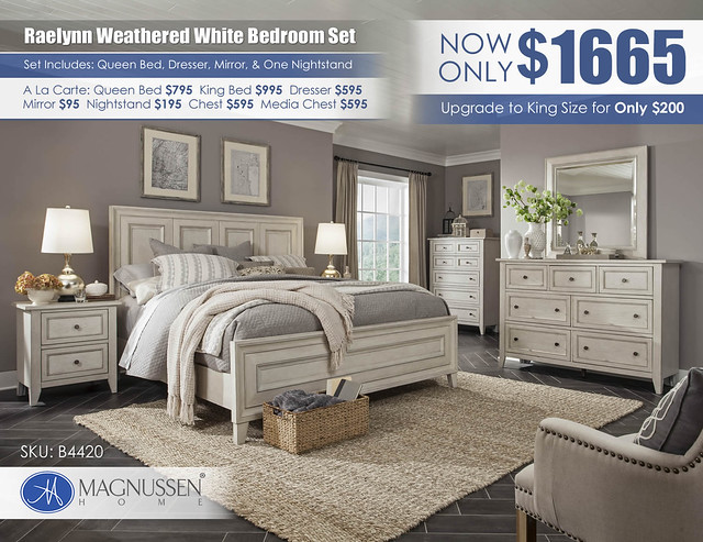 B4220_Raelynn Weathered White Bedroom Collection