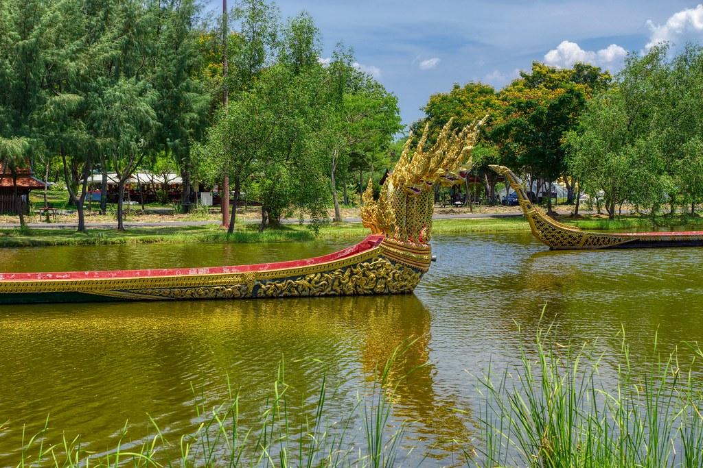 Replica of the Royal Barge Procession in a lake in Muang Boran (Ancient City) in Samut Phrakan near Bangkok, Thailand