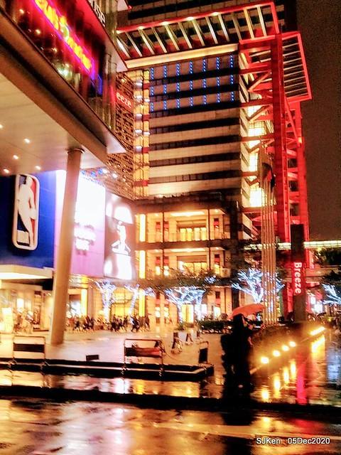 Christmas street night scene at Taipei Department stores area, Taipei, Taiwan, SJKen, Dec 5, 2020.