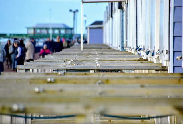 Along the beach huts at St Annes, Lancashire