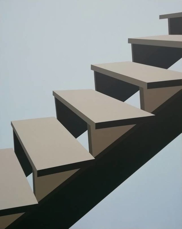 Stepenice6, akril na platnu, 140x110cm, 2020