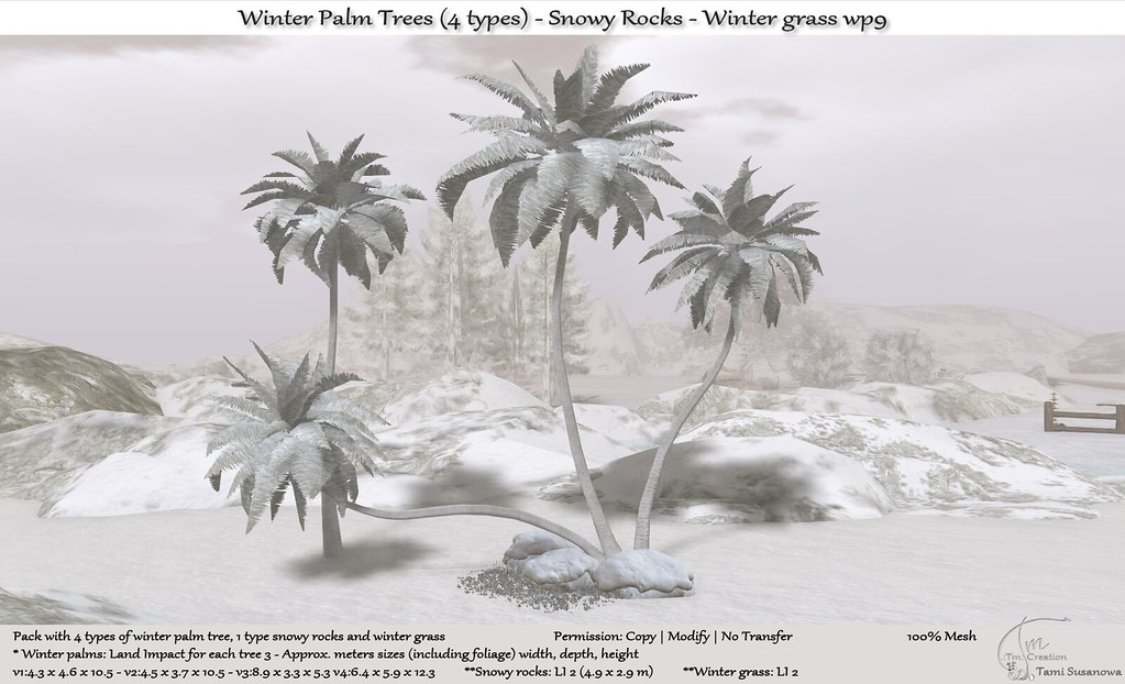 ".:Tm:.Creation ""Winter Palm Trees (4 types) & Rocks"" wp9"