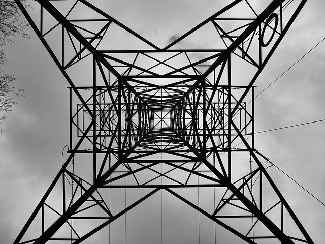 Looking up inside a pylon.