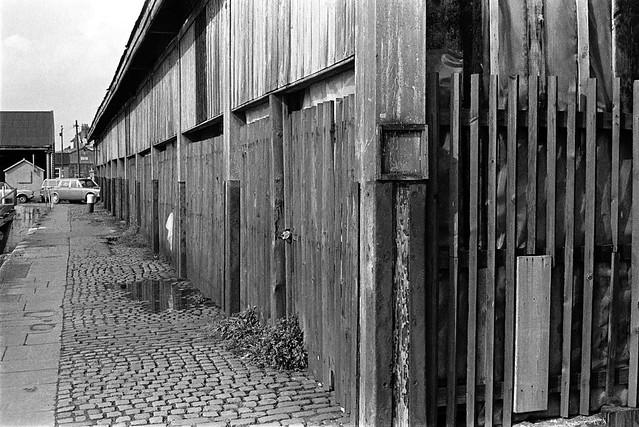 Dockside sheds, Humber Dock Basin, Minerva Terrace, Hull, 1975 5n35