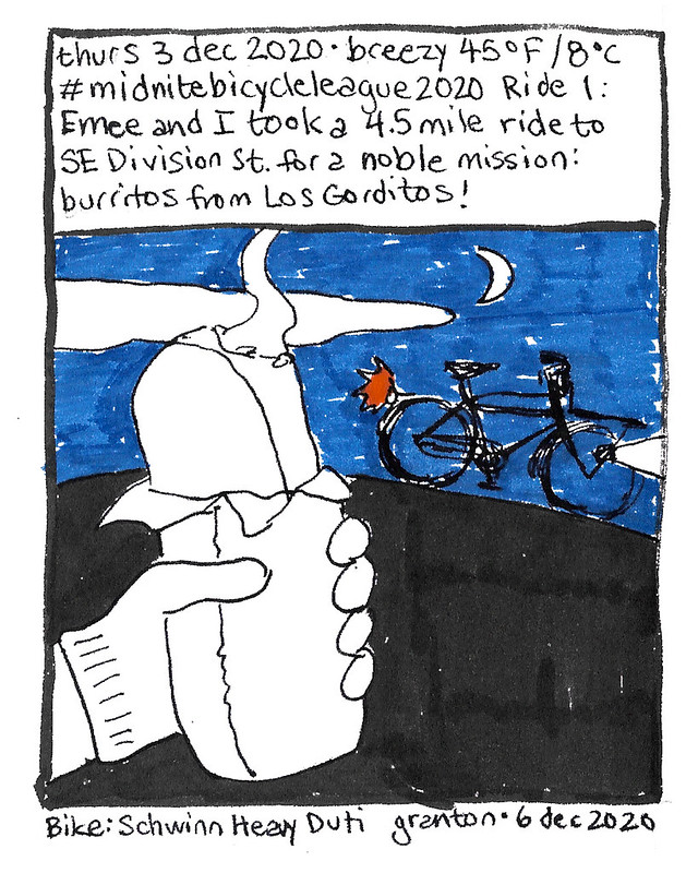 Journal Comic, 3 Dec 2020. Midnite Bicycle League Challenge Ride 1: Burritos
