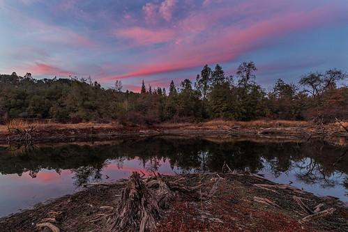california sunset reflection clouds landscape pond outdoor nevadacounty sierranevadafoothills vello sierrarange manfrotto190xprobtripod canoneos6d canonef1635mmf28liiusmlens manfrotto496rc2compactballhead adobephotoshopcc adobebridgecc adobelightroomcc blackswanpreserve freewavepluswirelessremotecontrolshutterrelease
