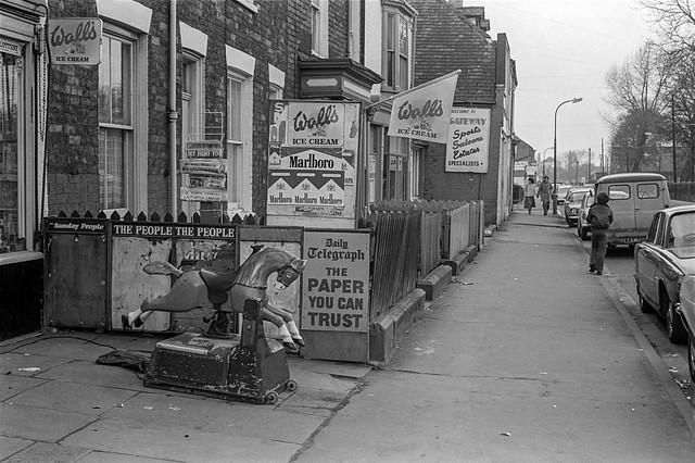 Newsagent, rocking horse, Walton St, Hull, 1979, 19n25