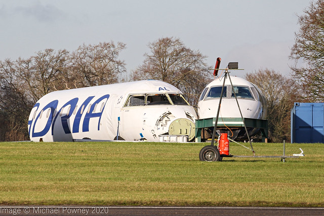 PH-ADO (S5-AAL) & G-EMBC - Bombardier CRJ900LR & Embraer 145EP fuselage remains at Kemble