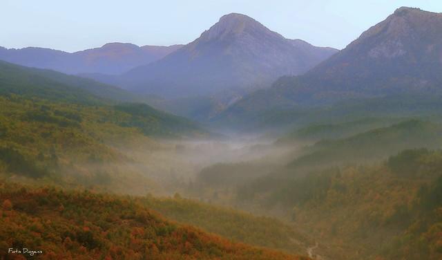 Fog in the valley of Hatsios, Tsepelovo, Zagorochoria, Greece