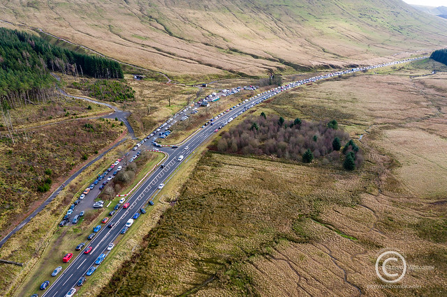 Congested parked cars and traffic on the A470 at Pen-y-Fan
