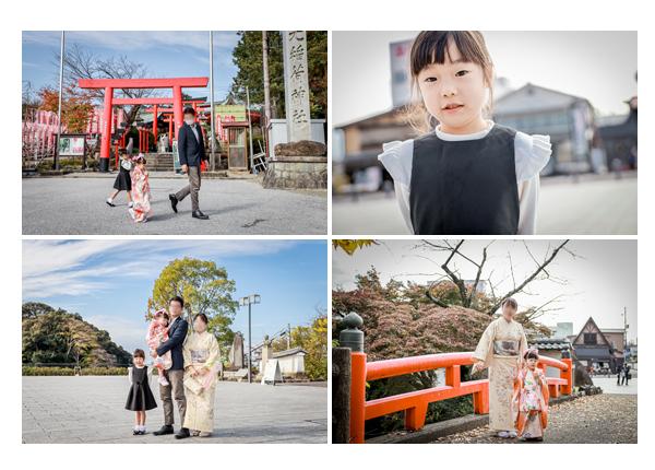 七五三 三光稲荷神社 赤い鳥居と橋