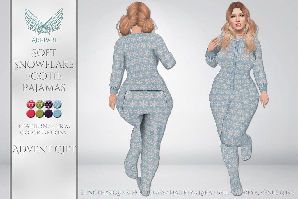 [Ari-Pari] Soft Snowflake Footie Pajamas