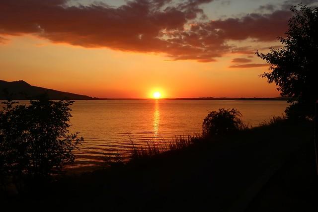 Sunset over the Nové Mlýny reservoir.