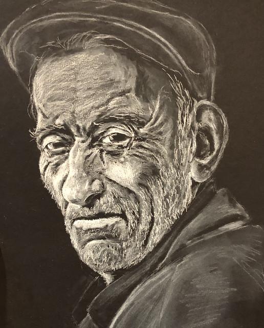 Old man portrait #drawing #charcoal #whitecharcoal #blackpaper #portrait #illustration #silhouette #art #artwork #oldman