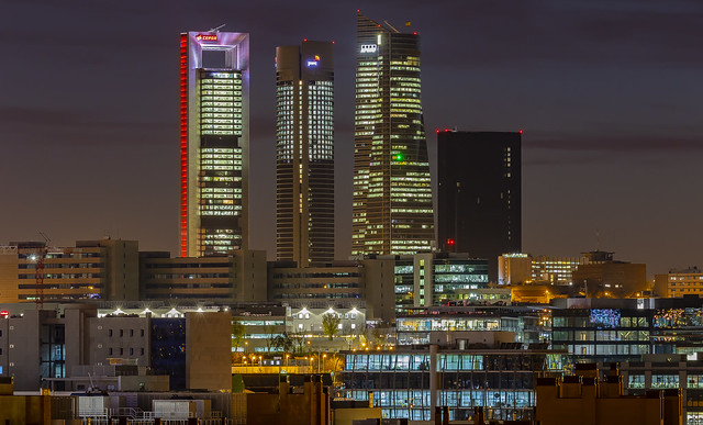 Five towers at twilight, Madrid, Spain