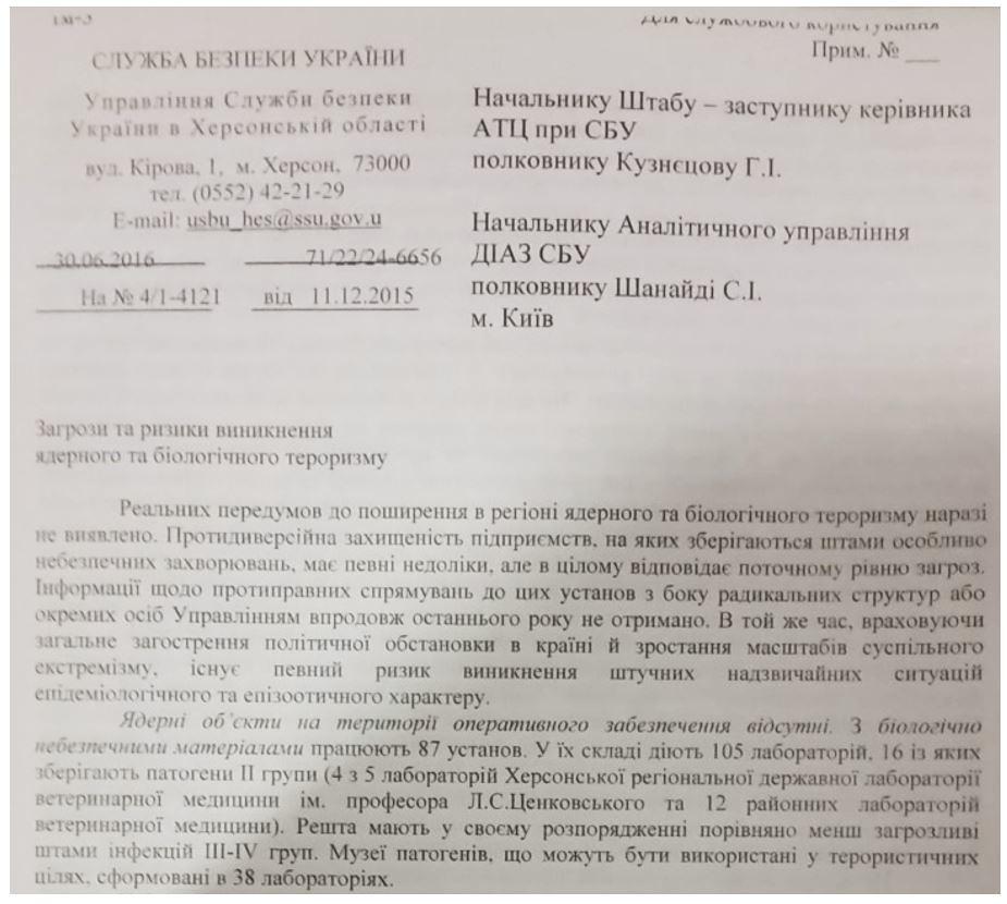 Rapport du SBU de Kherson de 2016