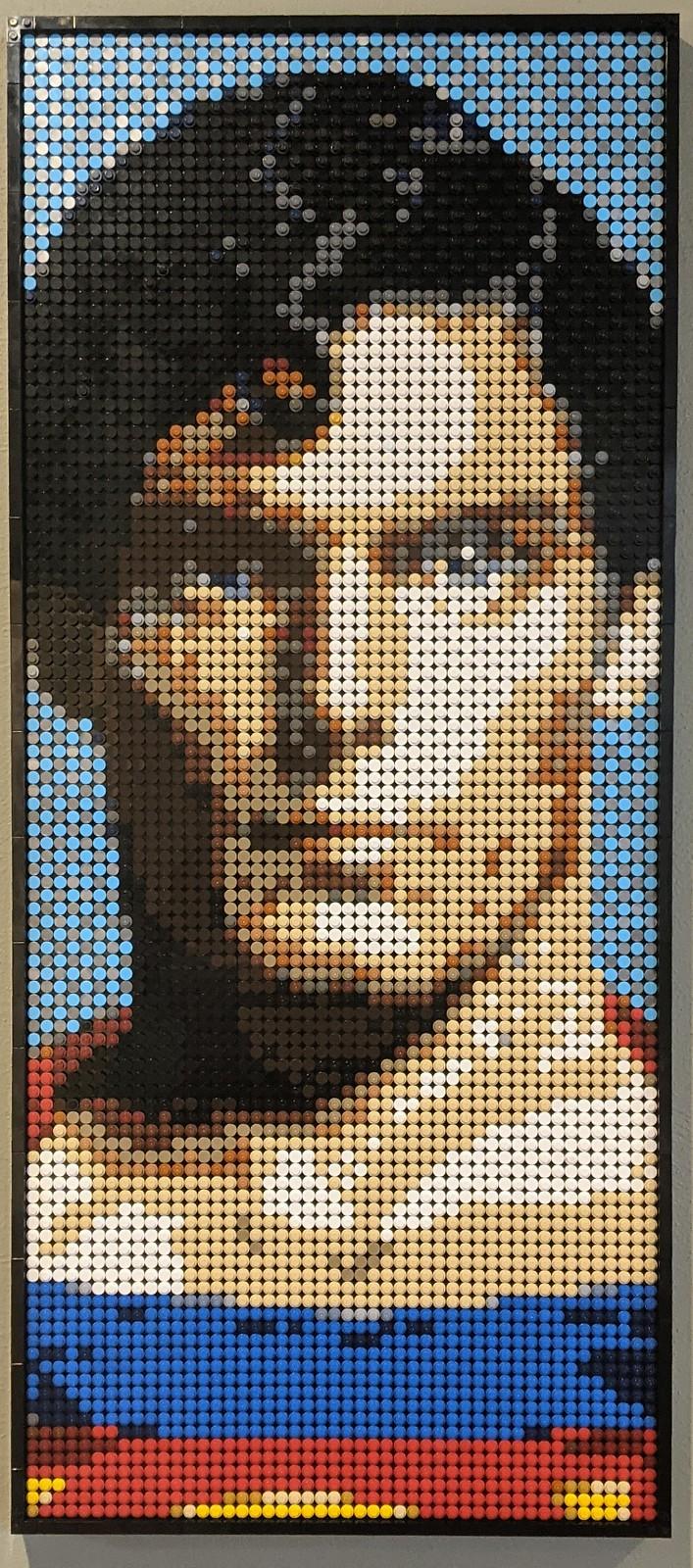克里斯托弗里夫作为超人-乐高艺术马赛克风格