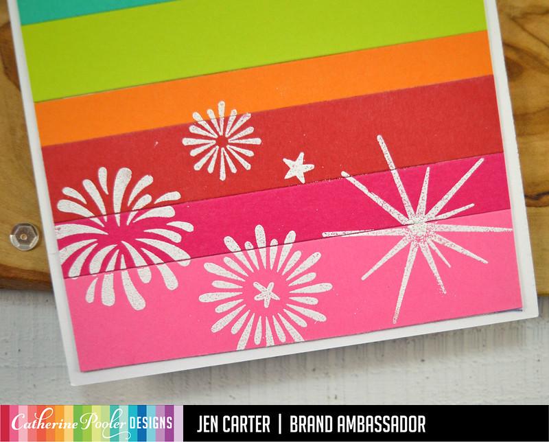 Beautiful New Year Jen Carter Mod Stripes Rainbow Decor Thanks Sparkle & Pop Closeup 1