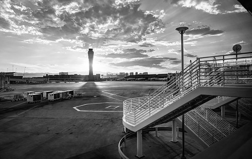lasvegas nevada usa airport mccarraninternationalairport outdoor tarmac stairs tower airporttower sun sunset clouds cloudy monochrome blackandwhite sony sonya6000 a6000 selp1650 3xp raw photomatix hdr qualityhdr qualityhdrphotography fav100