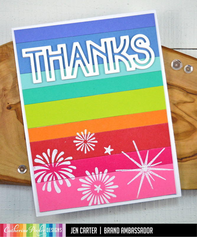 Beautiful New Year Jen Carter Mod Stripes Rainbow Decor Thanks Sparkle & Pop