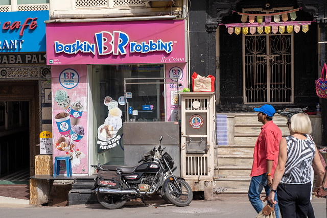 Udaipur, India - March 15, 2020: Exterior of a Baskin Robbins Ice Cream shop and parlour, open for business on the narrow streets of Udaipur