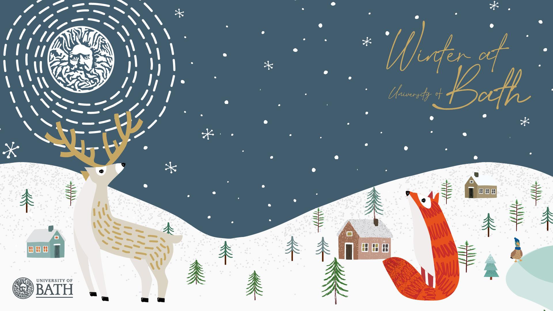 A cartoon fox and deer in a snowy scene