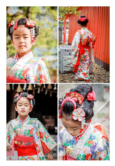 七五三 7歳の女の子 ママ譲りのお着物に日本髪