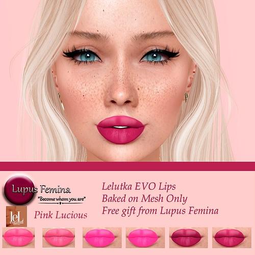 """""""Lupus Femina"""" Pink Lucious Lips - Lelutka EVO - BOM/ GIFT"""