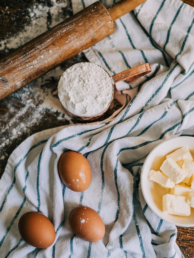 Baking ingredients on the kitchen worktop