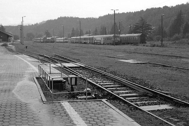 Deszcz na stacji w Zagórzu / Rain at Zagórz station