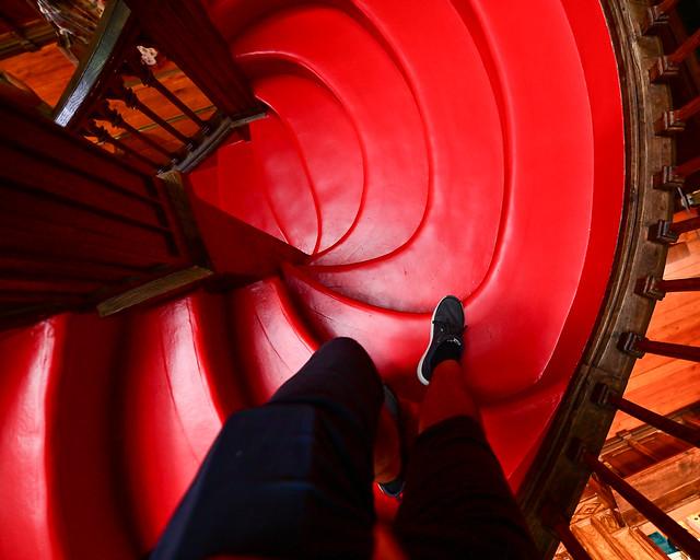 Bajando las escaleras de la librería Lello