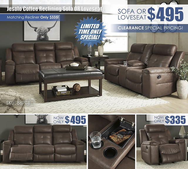 Jesolo Coffee Sofa OR Loveseat_Clearance_86704_Update