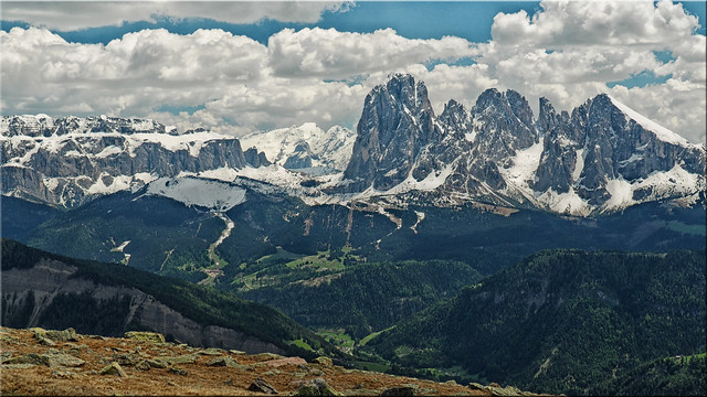 View from the Rasciesa to the Sella Joch in South Tyrol