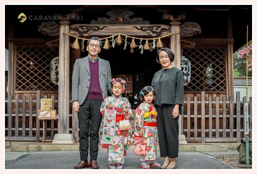 愛知県瀬戸市の深川神社で七五三 家族の写真