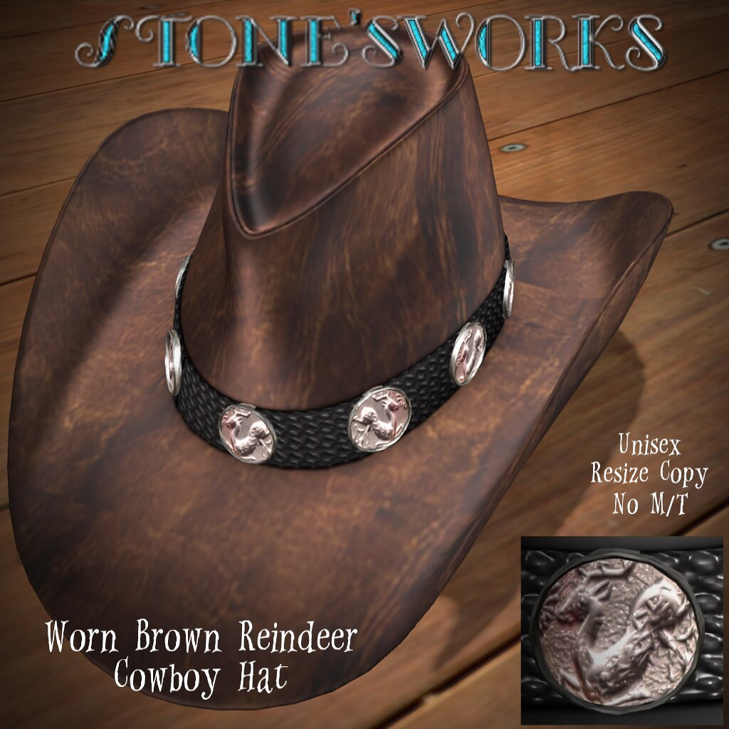 Worn Brown Reindeer CB Hat  Stone's Works