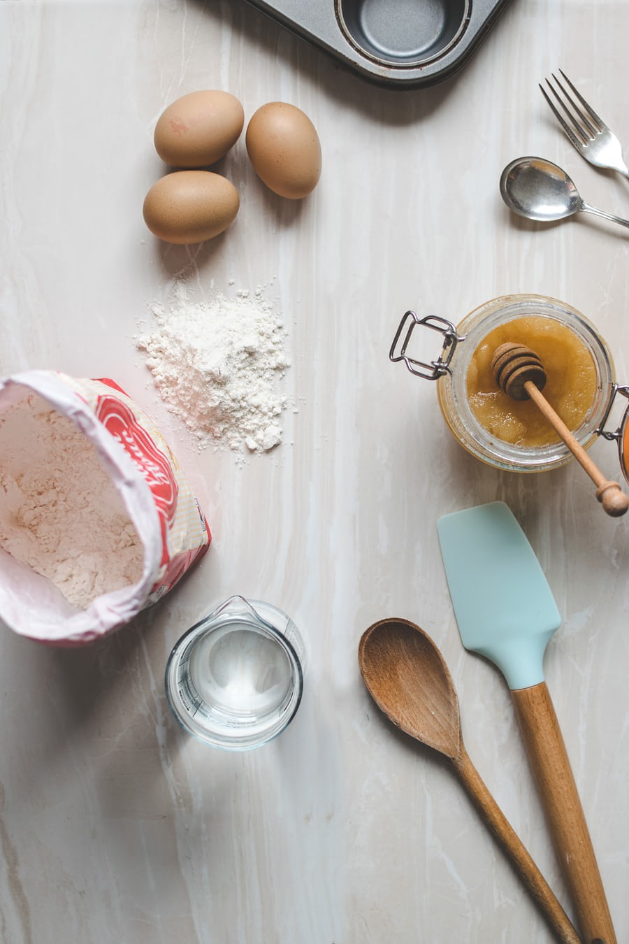 Ingredients and baking tin, ready for some baking activity