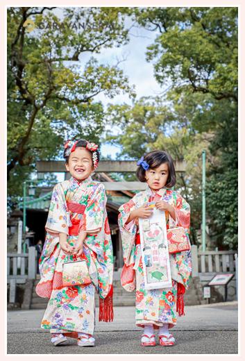 七五三 姉妹そろって和装 着物はママ姉妹から譲り受けたもの