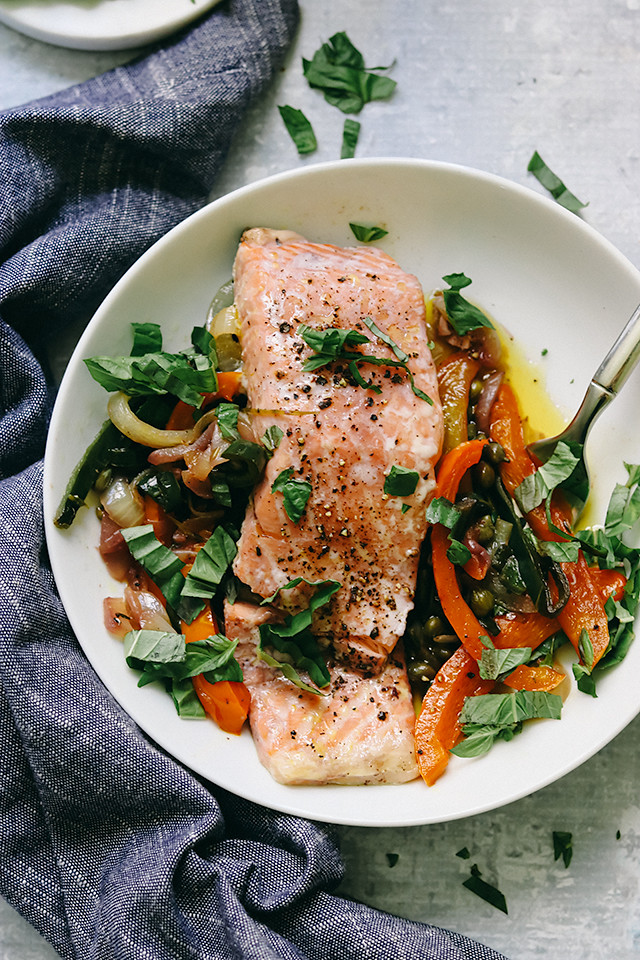 Provencal Salmon with Sweet Onions, Peppers, and Capers