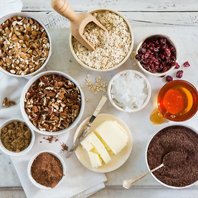 Ingredients in bowls ready for baking