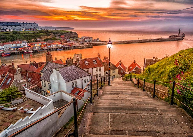 Whitby Sunset and Fog Bank